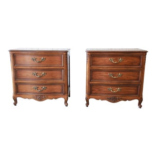 Kindel French Provincial Three-Drawer Nightstands or Small Chests, Pair
