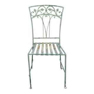 Vintage John Salterini Wrought Iron Scrolling Leaf Vine Garden Dining Side Chair For Sale