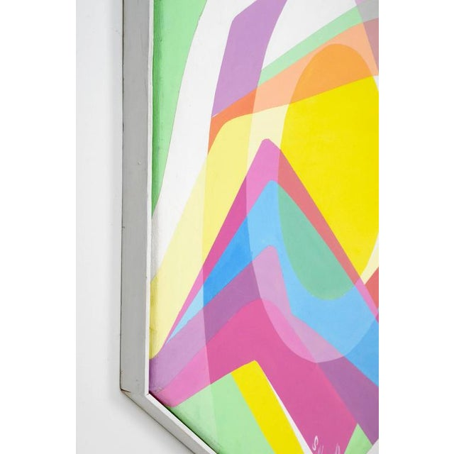 1970s Octagonal Abstract Oil on Canvas - Image 4 of 7