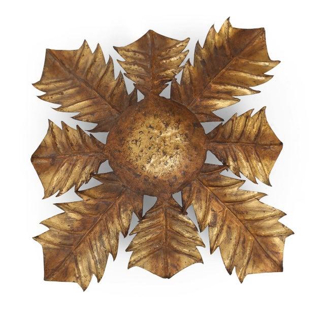 Gold Gilt Tole Acanthus Flush Mount For Sale - Image 8 of 10