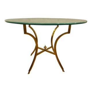 Hollywood Regency Style Glass Top Bronze Based Centre Table or Dining Table For Sale