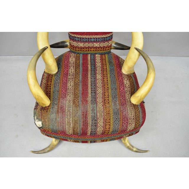 Red Early 20th Century Antique Upholstered Steer Horn Parlor Chair For Sale - Image 8 of 10