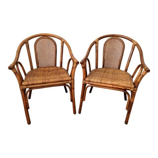 Palm Beach Style Bamboo and Rattan Barrel Chairs - a Pair