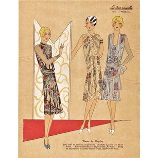 Matted Art Deco 1926 Vintage French Fashion Pochoir Print For Sale