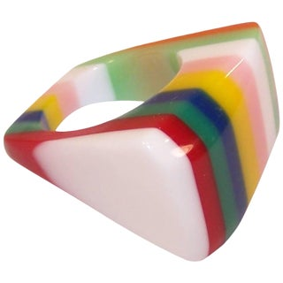 Mod C.1970 Funky Striped Plastic Acrylic Ring For Sale