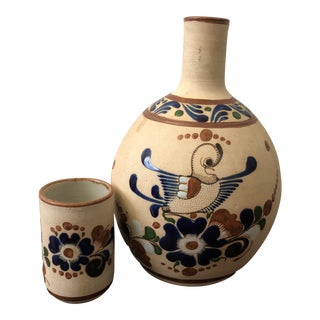 Vintage Mexican Water Jug and Cup Set - 2 Piece For Sale