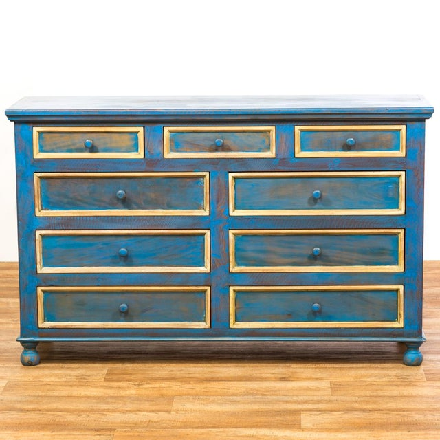Reclaimed Peroba Rosa Wood Distressed Blue Chest of Drawers/Dresser - Image 2 of 8