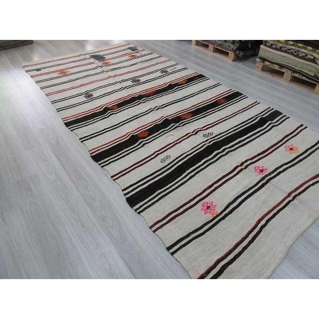 "Vintage Striped Turkish Hemp Kilim Rug - 6'11"" X 13'9"" For Sale - Image 5 of 6"
