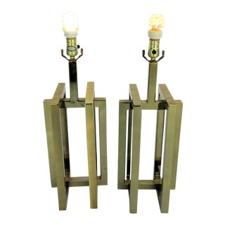 Willy Rizzo Brass Lamps - A Pair For Sale
