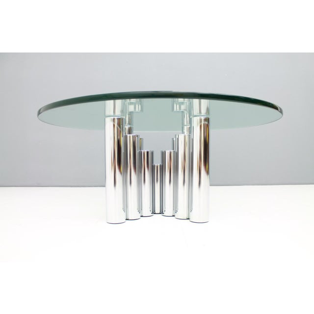 Hollywood Regency Modern Coffee Table in Chrome & Glass 1970s For Sale - Image 3 of 11