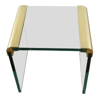 Mid-Century Modern Leon Rose Glass Waterfall End Table For Sale