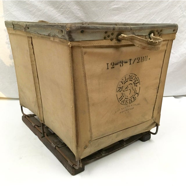 Vintage McElmoyl Industrial Canvas Laundry Basket For Sale - Image 11 of 11