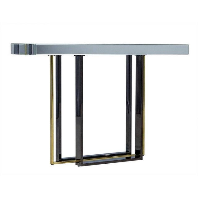 Metal 1970s Mid-Century Modern Tri Color Striped Mirror Console Table For Sale - Image 7 of 9