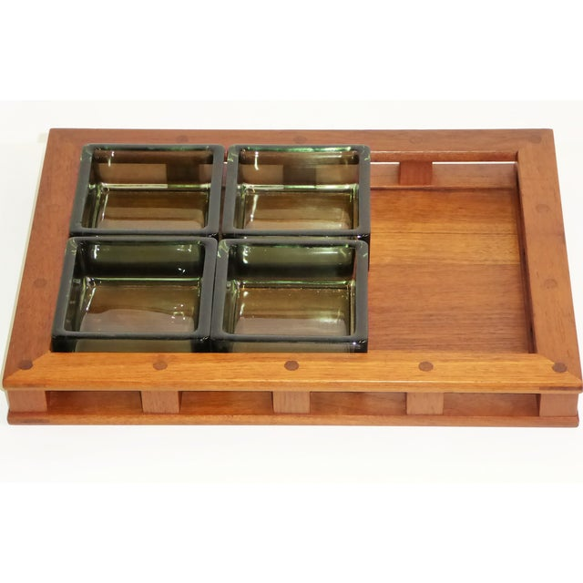 1950s Dansk IHQ Modern Teak Tray with Glass Inserts, Quistgaard, Denmark For Sale - Image 5 of 13