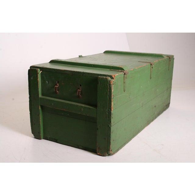 Vintage Military Green Wood Foot Locker - Image 6 of 11