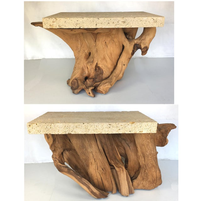Sophisticated Pair Of Iconic Fossil Stone Side Tables By Michael - Cypress stump coffee table
