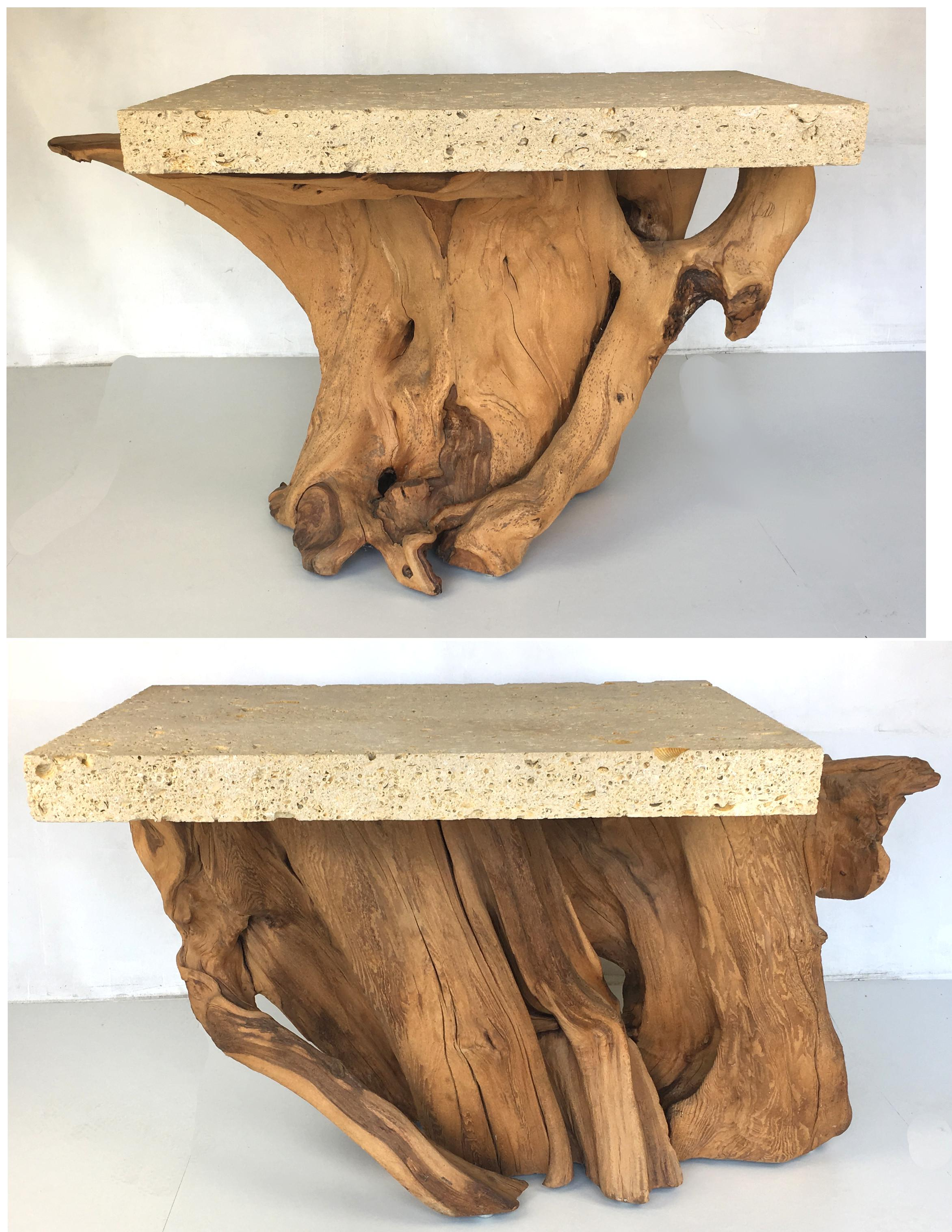 Large Scale Pair Of Cypress Stump Side Tables With Signature Fossil Stone  Tops By Michael