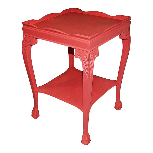 Coral-Painted Mahogany Side Table - Image 1 of 5