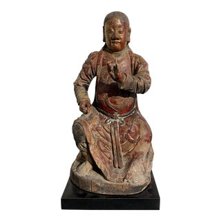 Chinese Carved Wood Figure of Guandi, Qing Dynasty, Early 19th Century For Sale