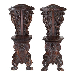 19th C. Italian Carved Walnut Sgabello Hall Chairs For Sale