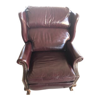 Burris Maroon Leather Hobnail Reclining Wingback Chair For Sale