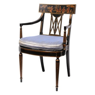Regency Style Klismos Chinoiserie Armchair With Silk Cushion & Cane Seat