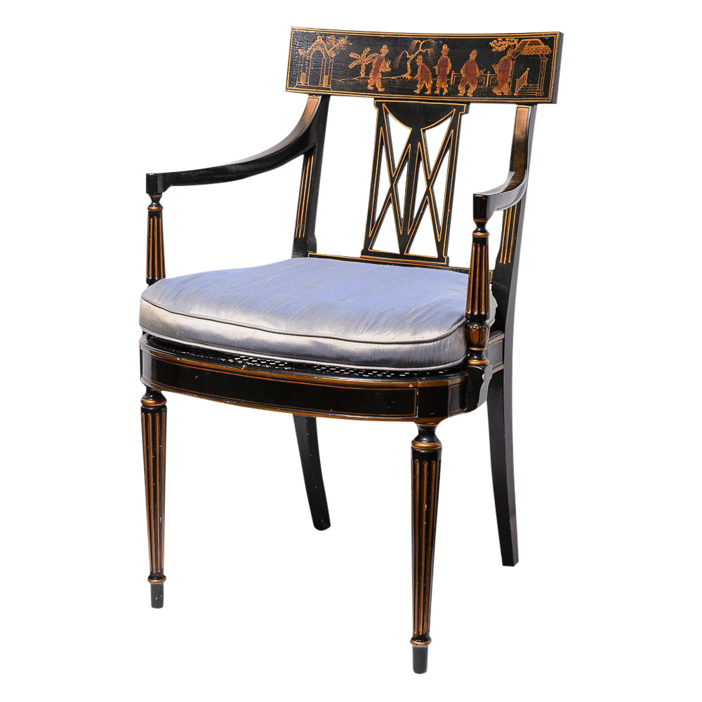 Regency Style Klismos Chinoiserie Armchair With Silk Cushion U0026 Cane Seat