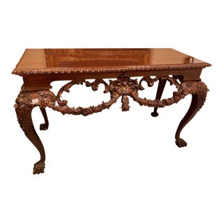 Custom Carved Console Table with Claw Feet and Carved Heads, circa 1940s For Sale