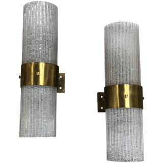 Italian Murano Tube Brass and Glass Wall Sconces, 1960s For Sale
