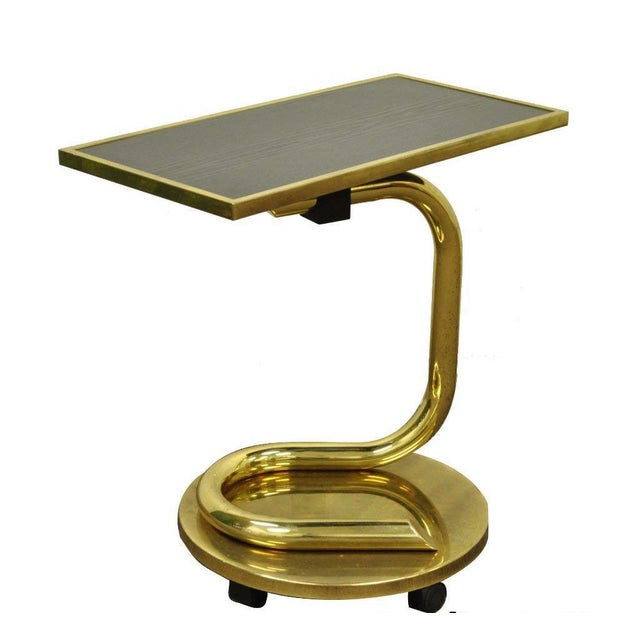 Vintage Paul Tuttle Mid Century Modern Brass Revolving Tray Top Anaconda Side Table For Sale - Image 11 of 11