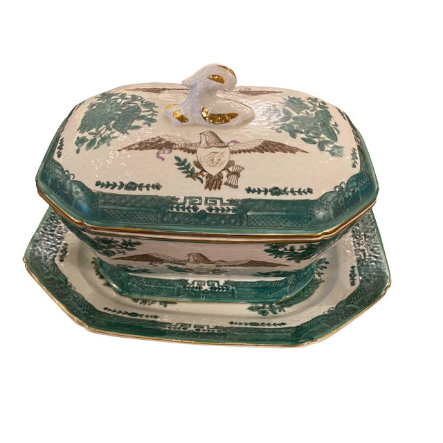 Early 20th Century Green Chinese Fitzhugh Tureen and Under Plate For Sale