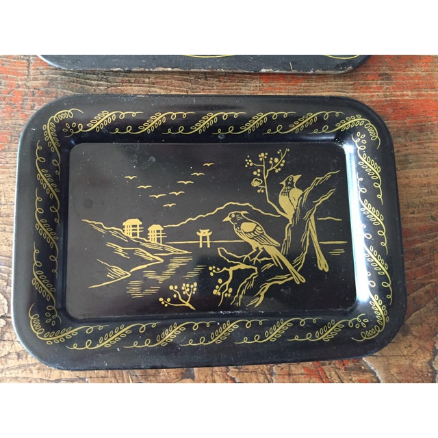 Daisies and Ravens Toile Trays - Set of 3 - Image 3 of 6