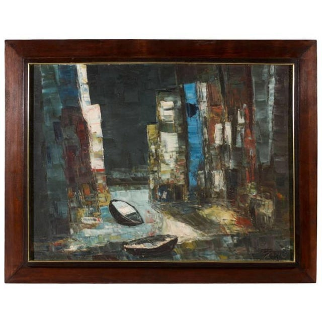 Oil Paint Vintage Abstract Painting of Rowboats in Original Wood Frame For Sale - Image 7 of 7