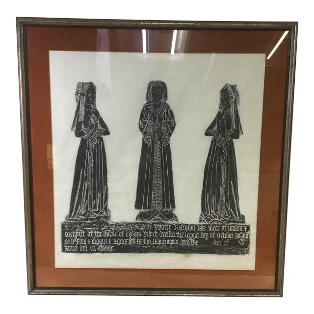 Medieval Brass Rubbing of Tombstone With Old English Inscription, Framed For Sale