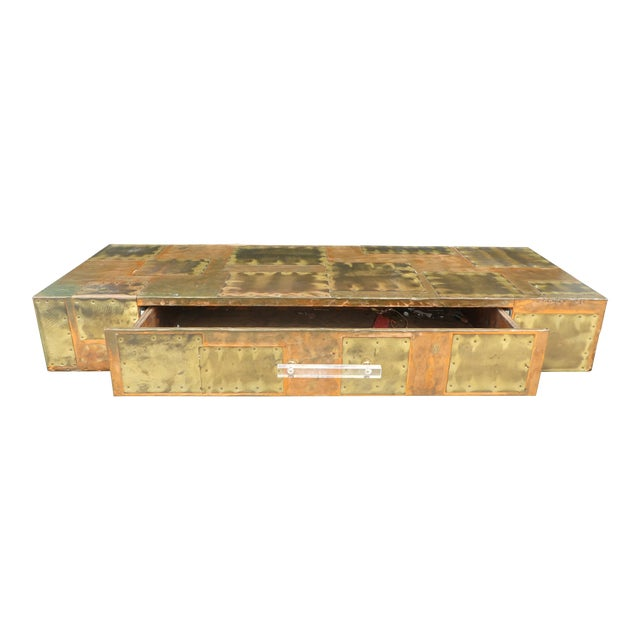 1970's Brutalist Patchwork Wall Console Manner of Paul Evans For Sale