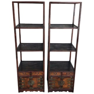 Pair of Chinese Export Brass Mounted Étagère For Sale