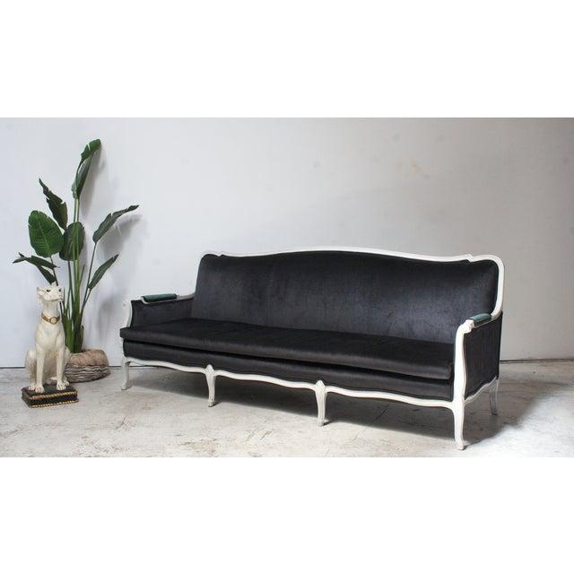 Antique Louis Canapé Black Velvet Sofa - Image 3 of 10