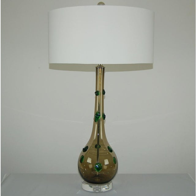 Murano Vintage Murano Glass Table Lamps With Prunts For Sale - Image 4 of 9