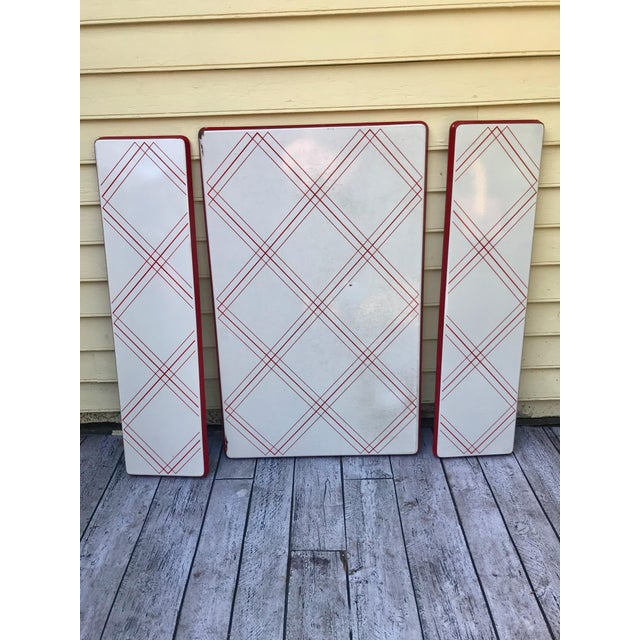 1930's Art Deco Style Red & White Enamel Porcelain Kitchen Table Top with Extensions - 3 Pieces ...