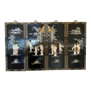 Chinoiserie Wall Panels in Lacquered Wood & Mother of Pearl Inlay - Set of 4 For Sale
