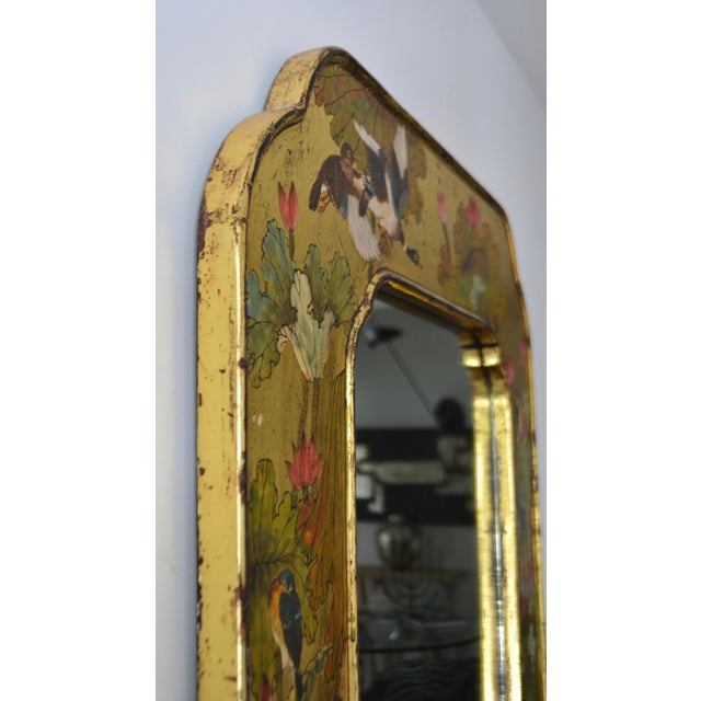 Hollywood Regency Hand-Painted Giltwood Wall Mirror For Sale - Image 10 of 12