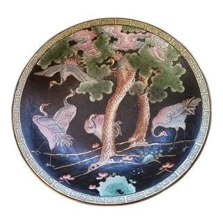 Vintage Macau Cloisonne Hand Painted Porcelain Flamingo Charger For Sale