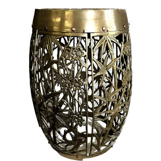 Vintage Chinoiserie Brass Faux Bamboo and Fretwork Design Garden Stool For Sale