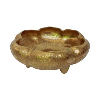 22k Gold Porcelain Footed Lotus Bowl