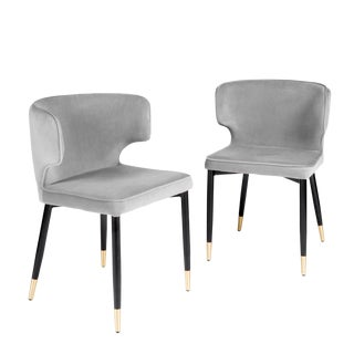 Contemporary Kayla Upholstered Dining Chairs in Gray Velvet - a Pair For Sale