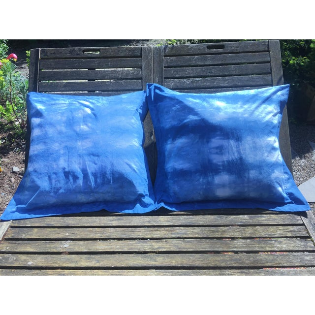Blue & White Hand Dyed Indigo Shibori Euro Pillow Shams- Set of 2 For Sale In Portland, OR - Image 6 of 6