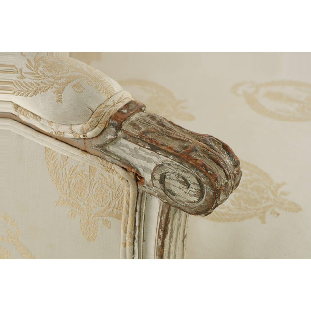 French Louis XVI Distressed Wingback Armchair - Image 9 of 11