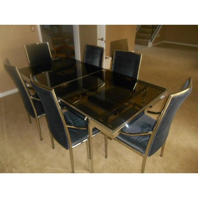 Mid-Century Modern Mid-Century Modern Chrome & Glass Expandable Dining Table Set - 7 Pieces For Sale - Image 3 of 7