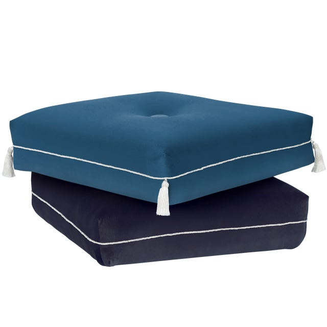 Boho Chic Two-Tone Turkish Ottoman, Blue and Navy Blue For Sale - Image 3 of 3
