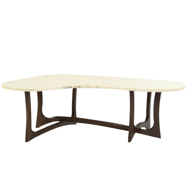 1950s Asymmetric Marble-Top Coffee Table by Adrian Pearsall For Sale